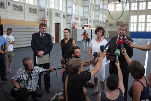 Pressekonferenz in der Ernst-Grube-Halle