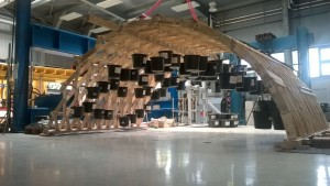 Nachbau eines Zollingerdaches in der HTWK-Werkstatt