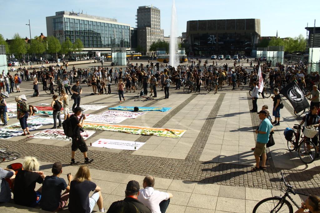 Auf dem Augustusplatz versammelten sich die Demonstrierenden