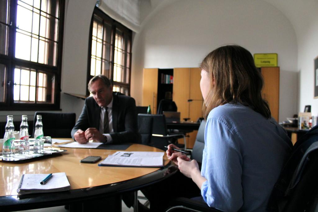 Interviewtermin im Neuen Rathaus