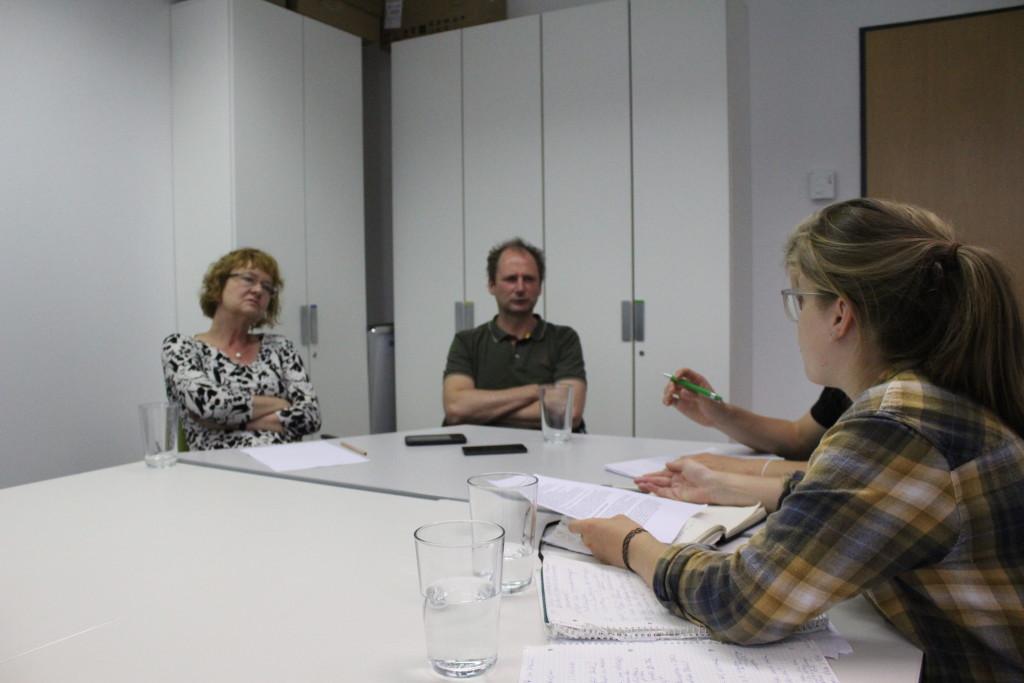 Luise Mosig und Conrad Meißner beim Interview mit Monika Wohlrab-Sahr und Roger Berger von der Universität Leipzig