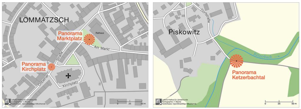 Standorte, die mit der mobilen Webanwendung des Projekts erkundet werden können