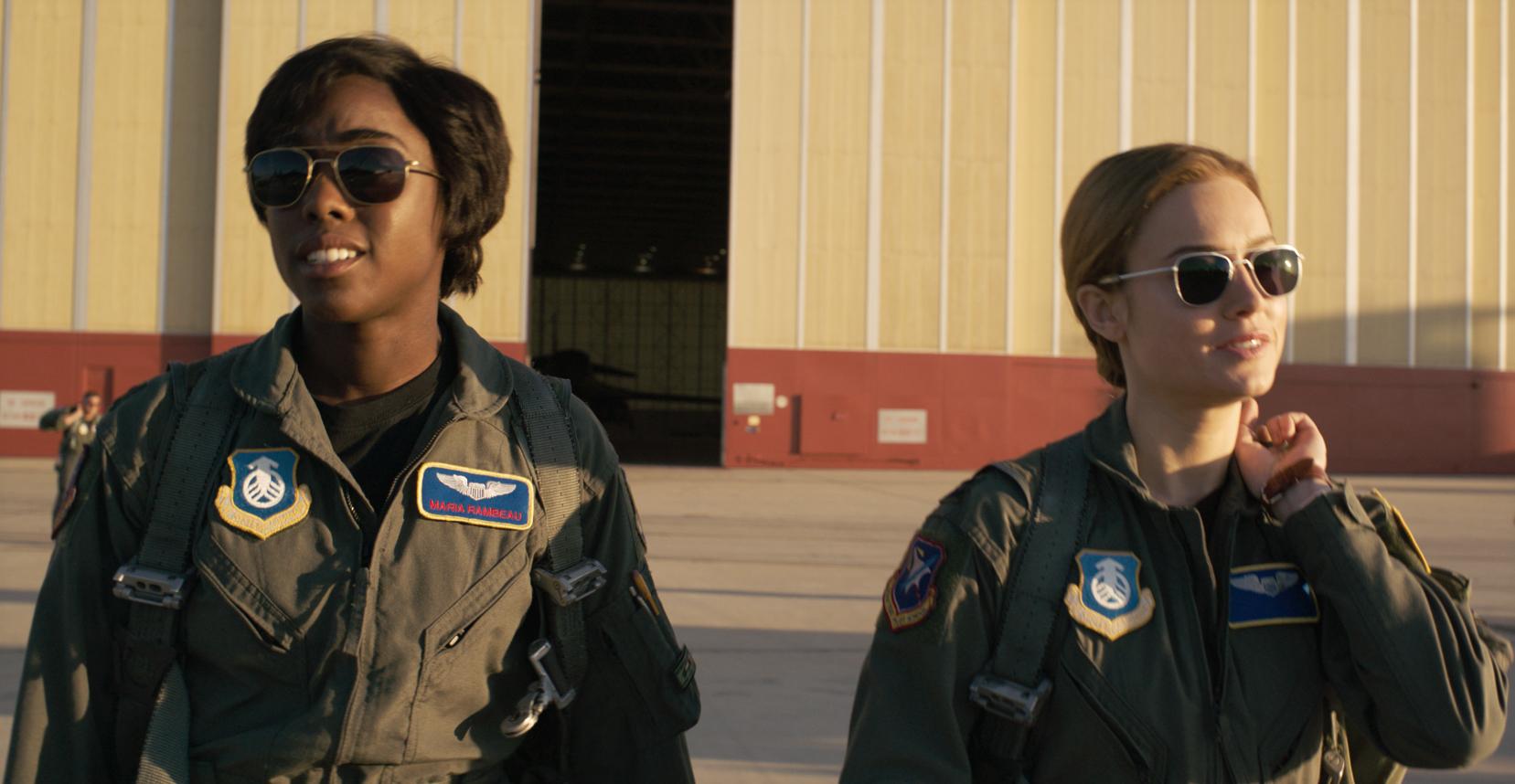 L to R: Maria Rambeau (Lashana Lynch) and Captain Marvel (Brie Larson)