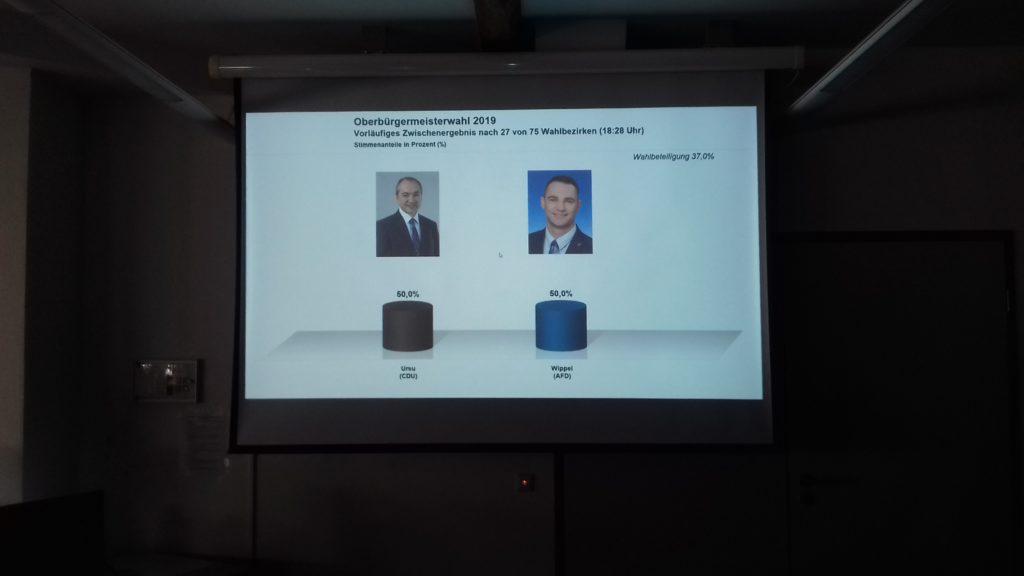Grafik über die ausgezählten Stimmen bei der OB-Wahl in Görlitz am Sonntag