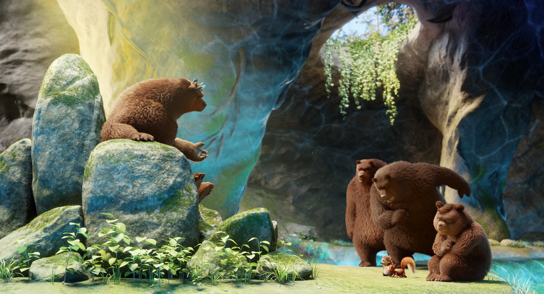 """Das Bild zeigt eine Momentaufnahme aus dem Animationsfilm """"Latte Igel"""". Darauf zu sehen ist links im Bild der Bärenkönig Bantur, der auf seinem steinernen Thron sitzt. Rechts stehen unterhalb von ihm zwei Bärenwächter. Der eine verbeugt sich. Daneben steht außerdem sein Sohn, der zu Boden blickt und Latte und Tjum."""
