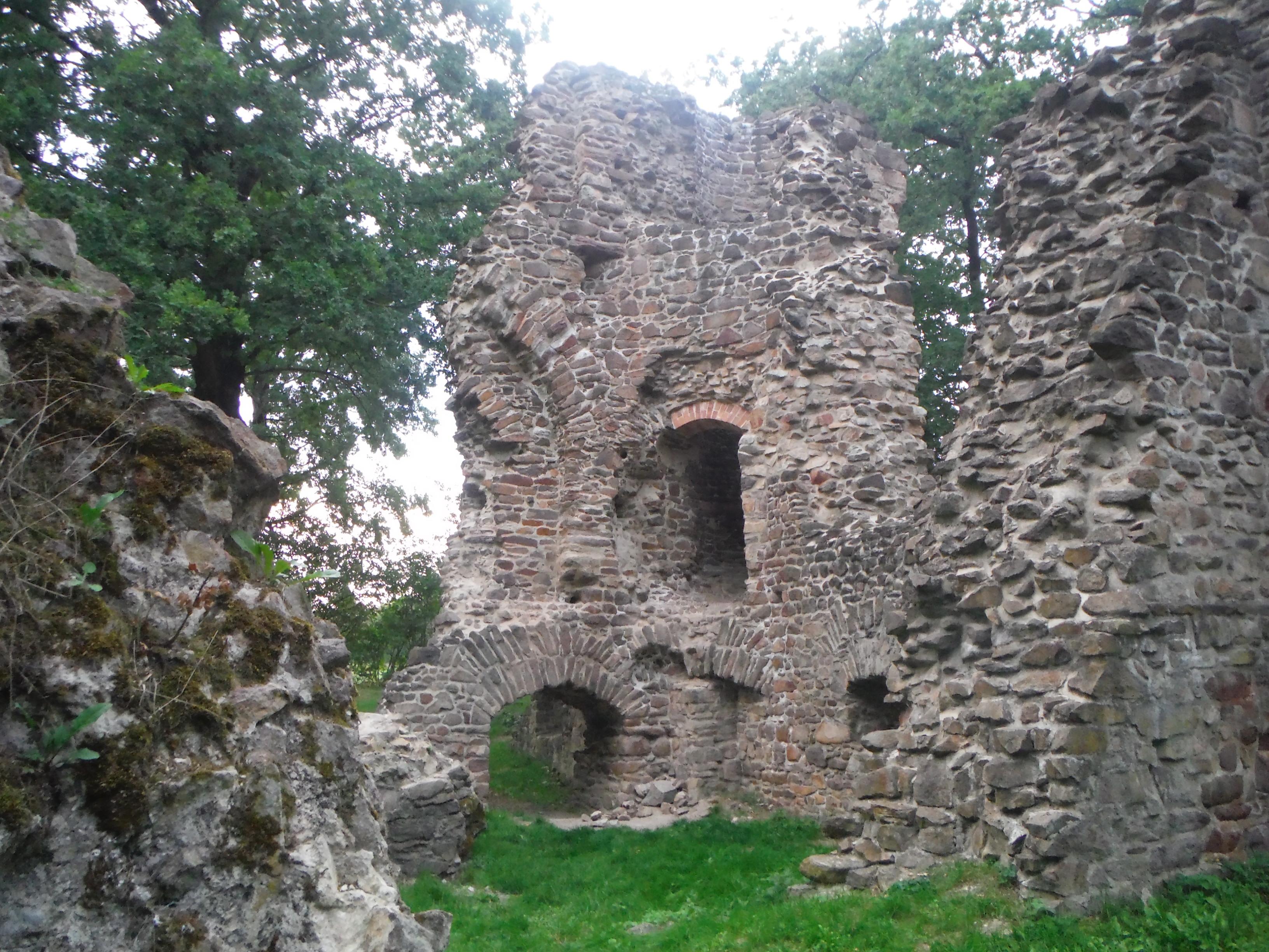 In der Mitte ist ein Teil einer Ruine mit Fenstern und einem kleinen Torbogen zu sehen, links und rechts befinden sich kleinere Mauerreste. Die Ruine ist von Gras und Bäumen umgeben.